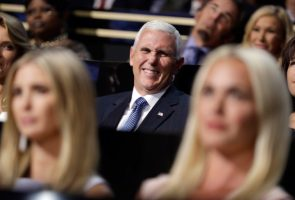 Governor Mike Pence of Indiana smiles