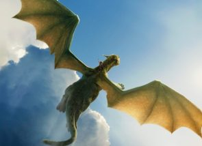 Pete's Dragon in the air