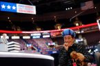 Stephen Colbert performs on the floor of the Republican National Convention