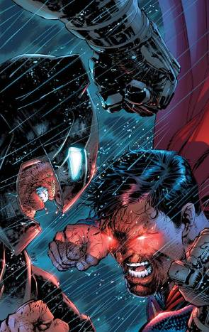 Superman v Batman in the rain