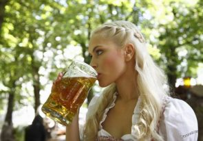 blonde drinking a beer
