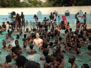 white man at the pool