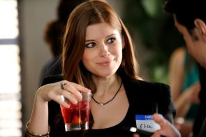 Kate Mara with a drink