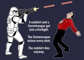 a redshirt and a stormtrooper get into a fight