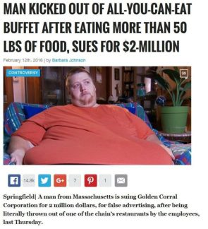 fat man sues buffet