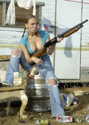 red neck woman with shotgun