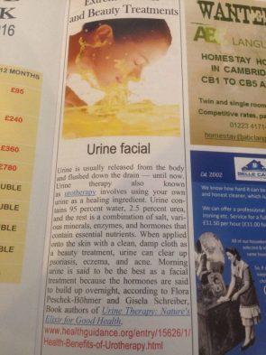 urine facial