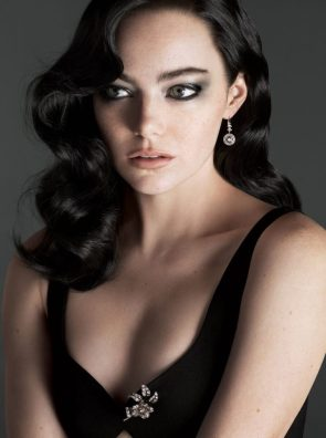 Emma Stone with dark hair