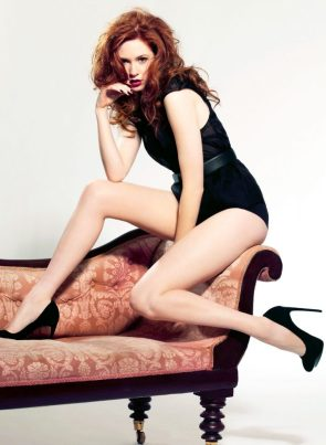 Karen Gillan on a couch