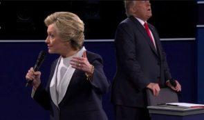 Trump making love to a chair during debate