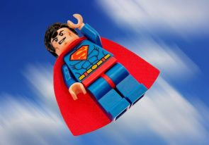 lego superman in motion