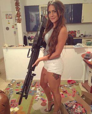 well armed woman in heels