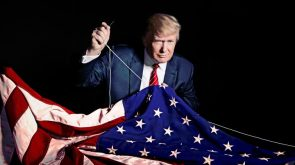 Donald Trump sewing his name into the American Flag