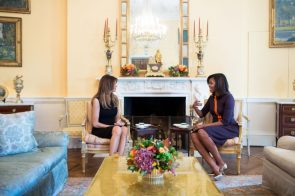 First Lady Michelle Obama meets with Melania Trump