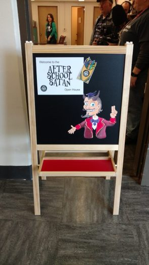 After School Satan Open House Sign