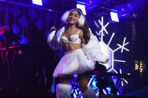 Ariana Grande is in the holiday spirit