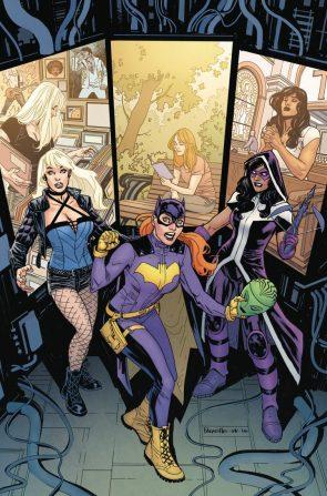 Batgirl has three vertical monitors