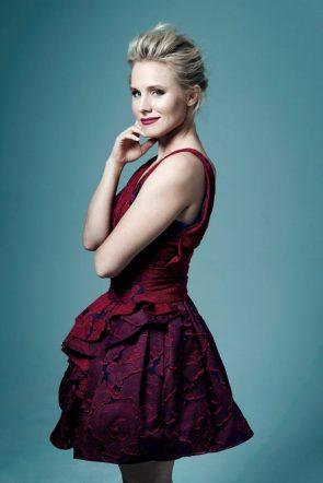 Kristen bell in a red dress