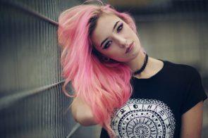 pink hair and black shirt