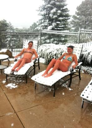 snow bathing