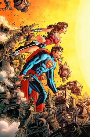superman and wonder woman busting up some robots