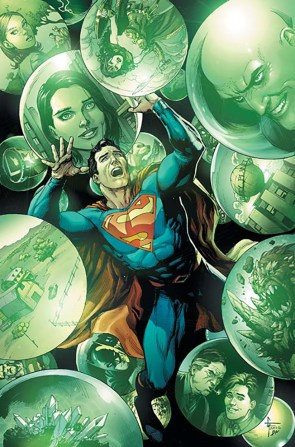 superman being attacked by giant green balls