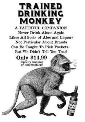 TRAINED DRINKING MONKEY
