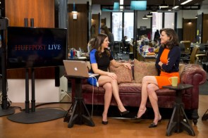 Campbell Brown (right) at AOL's Huffington Post studio in 2014.jpg
