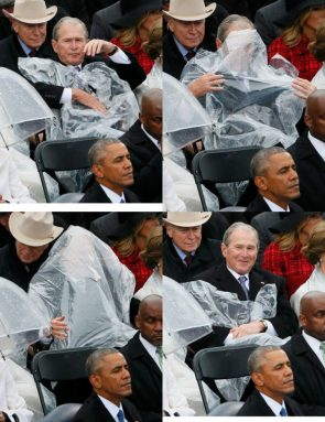 George Bush trying to use a poncho
