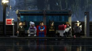Lego batman and superman waiting on a bus