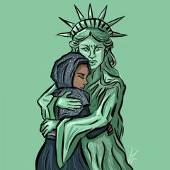 Liberty Embraces Refugee