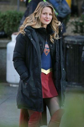 Supergirl wearing a jacket