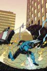 Blue Beetle doing a superhero landing