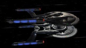 Enterprise and Columbia docking while at warp
