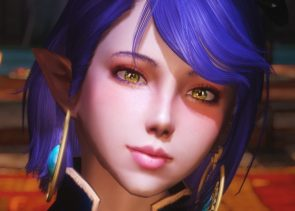 purple haired cgi woman