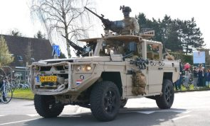 Dutch Army Commandos of the KCT parade their new ATV, the Vector
