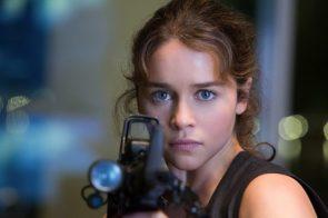 Emilia Clarke with a gun