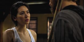 Jessica Henwick in a white tank top