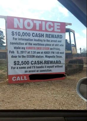 Notice 10,000 cash reward