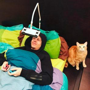 Switch in Bed with a cat