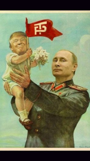 Tiny Trump being hoisted by Putin