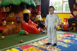 tiny trump at his exclusive playground