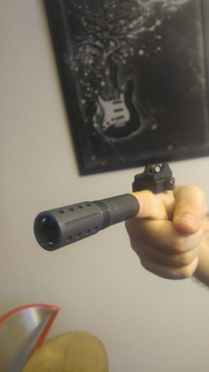 Finger gun with Iron sight and flash suppressor