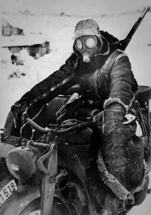 German motorcycle courier in Eastern Front, 1942