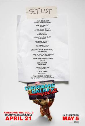 Guardians of the Galaxy vol 2 setlist