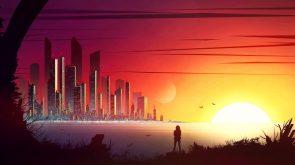 Neon City at dusk