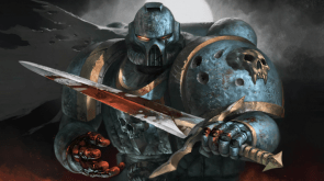 Warhammer 40k Space Marine with a bloody sword