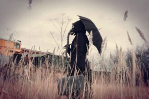 gas mask and umbrella