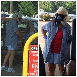 gas masked gasoline buyer