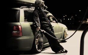 gassing up in gas masks